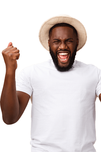 A happy man with a white t-shirt and straw hat on. Start scanning today with your Scanycash!
